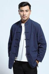 Camisa de china, tang online-Shanghai Story Camisa de manga larga Ropa tradicional china Blend Linen Tang traje cuello mandarín chaqueta reversible 2 colores