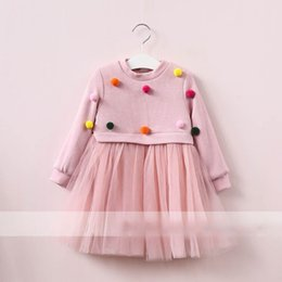Wholesale Girls Tull Dresses - Everweekend Girls Ball Tull Ruffles Dress Cute Baby Pink and Red Color Clothes Princess Fleece Lining Autumn Winter Party Dress