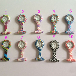Wholesale Silicone Zebra - Nurse Pocket Watch Candy Colors Zebra Leopard Prints Soft Band Brooch Silicone 10 Patterns Follower Airming
