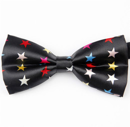 Wholesale Tuxedo Ascot Tie - Wholesale-Accessories Bow Tie for Men Women Adjustable Star Bowtie Black White Yellow Red Pink for Tuxedo Prom Party Bar Club Wedding 206