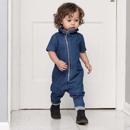 Wholesale Wholesale Christmas Onesies - Boy Rompers Kid Denim Jumpsuit Baby Onesies Children Clothes Kids Clothing 2016 Autumn Rompers For Babies Baby One Piece Romper Ciao C28238