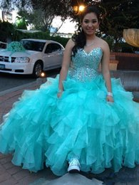 Wholesale Turquoise Ruffled Quinceanera Dress - Sparkling Turquoise Quinceanera Dresses 2016 Sweetheart with Crystal Rhinestones Ruffles Organza 16 Masquerade Ball Gowns Corset Top