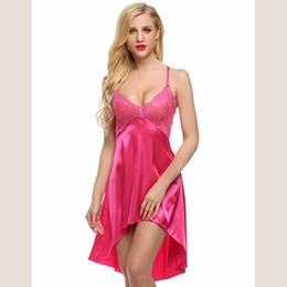 Wholesale Women S Red Silk Underwear - Oshlen Sexy Women Lingerie Underwear Artificial Silk Dress Robes Deep V Nightgown Babydolls Irregular Chiffon Lace Strap Sleepwear