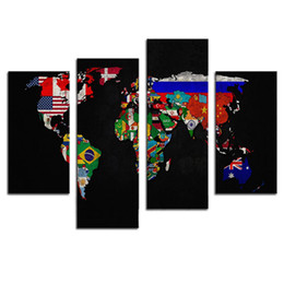 Wholesale Flag Frame - Amosi Art-4 Pieces Painting Print on Canvas Wall Art Flag in World map Its Country's Outline The Picture For Home Decoration(Wooden Framed)