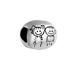 Zwillinge jungen online-Ladies jewelry boy girl brother sister twins love family European bead big hole charms bracelets necklace for Pandora