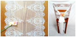 Wholesale Table Bows - 55*300cm Jacquard Lace Wedding Chair Sashes Back Covers Bows Table Runners Home Garden Decor Tablecloths Moden New Classic Party Decoration