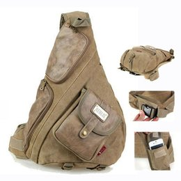 Wholesale Chest Canvas - Aerlis large canvas with leather chest bags for men Vintage casual male sling backpack Black Army green Khaki 6218 Free shipping