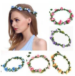 Wholesale rose hair garland - Bohemian Hair Crowns Flower Headbands Women Artificial Floral Hairbands Fashion Headwear Hair Accessories Wedding Garlands CCA6849 100pcs
