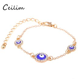 Wholesale Turkish Evil Eye Wholesale - 2017 New Fashion Eye Charms Gold Chain Turkish Evil Blue Eyes Lucky Bracelets For Women High Quality Plating Alloy Jewelry Good Gifts
