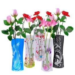Wholesale Color Plastic Vases - 5 Pcs Beautiful Fordable Flower Vase DIY PVC Vase Home Decoration - Random Color
