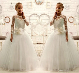Wholesale Ball Gowns Size 11 - 2016 Lace Beaded Long Sleeves Ball Gown Tulle little Girl Kids Dresses Size 10 For Wedding Kids Wedding Dress Flower Girl Dresses