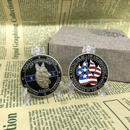 Wholesale People Room - 10pcs lot United States K9 Patrol Canine Dog Colored US Flag Guardian of the Night Challenge Protect Gift Coin