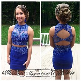 Wholesale Short Tight Blue Dress - Royal Blue Tight Homecoming Dresses Two Piece Modest Short Prom Dresses Sleeveless Backless Cocktail Dresses Beaded Party Gown