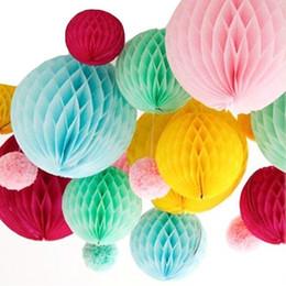 Wholesale Paper Lanterns 25cm - Promotion Wedding Decoration 5pcs 10''(25cm) Tissue Paper Balls Honeycomb Ball Flower Lantern Birthday Party Hanging Decoration