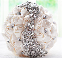 Wholesale Hand Bouquet Rose Pink - Ivory Pink Purple Hand made Elegant Decorative Artificial Rhinestone Bride Bridesmaid With Crystal Wedding Bouquet Flower
