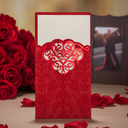 Wholesale Wedding Invitation Gold Printing - Gold Red Laser Cut Luxury Wedding Invitation Cards Hollow Foil Stamping Uneven Best with Envelopes, Seals, Custom Personalized Printing