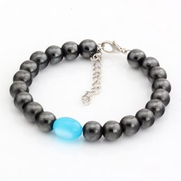 Wholesale Round Opal Bead - Hot ! 100pcs New men and women fashions fashions Round Black Magnetic Hematite Sky blue ellipse Imitation Opal Loose Bead Beaded Bracelets