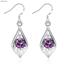 Wholesale Cheap Fashion Earrings Free Shipping - 925 sterling silver dangle earrings with purple zircon fashion jewelry classic charm style free shipping cheap wholesale