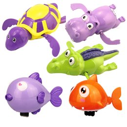 Wholesale Toy Swimming Sharks - Swimming Animal Toy Lovely Turtle Fish Shark Hippo Clockwork Chain Wind Up Water Diver Kids Bathtime Toys Classical 1 95hb B