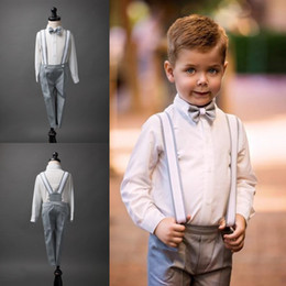 Wholesale Dark Green Bow Tie - Boys Suits For Weddings Size 2-14 Boy's Formal Suit Formal Party Bow Tie Pants Vest Rompers Kids Wedding Suits