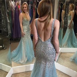 Wholesale Sexy Open Images Hot Picture - Fashion Sage Mermaid Prom Dresses Plunging V Neck Beaded Bodice Open Hollow V Back Sweep Train Tulle Hot Sales Evening Gowns