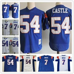 "Wholesale mens mountain - Mens Blue Mountain State Movie Jersey 54 Kevin ""Thad"" Castle Darin Brooks #7 Alex Moran white Stitched The film Football cheap Jerseys S-3XL"