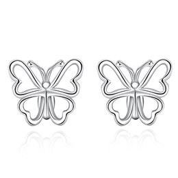 Wholesale New Indian Cute Girls - New Style Fashion Earrings 925 Sterling Silver Stud Earrings Hollow-out Light Butterfly Bow Stud Earrings Cute Gift for Girl