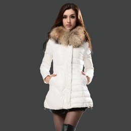 Wholesale Top French Brand Women down jacket Fashion Parka Real fur hoodie Light Bomber Slim Lady Coat