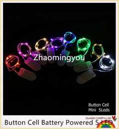 Wholesale Solar Powered Jar - YON Button Cell Battery Powered 2m 20LED Silver Color Copper Wire Mini Fairy String Lights For Holiday Christmas Wedding Party 8 Colors