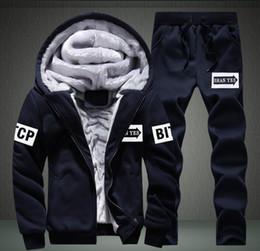 Wholesale Mens Cool Winter Jackets - winter hoodies men fleece warm mens tracksuit set casual jogger suits cool jacket pants and sweatshirt set sudaderas hombre XXXXL