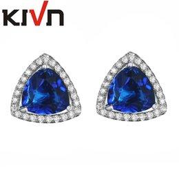 Wholesale Sapphire Cz Earrings - KIVN Fashion Jewelry Red Triangle Luxury CZ Cubic Zirconia Wedding Bridal Stud Earrings for Women Birthday Gift