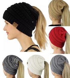 Wholesale Ponytail Red - 1Piece ePacket Free Shipping Women CC Beanies Winter Woolen Caps Girl Ponytail Hats Women Winter Warm Knitted Crochet Skull Beanie 10 Colors