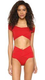 Wholesale Sexy Bathing Suit Criss Cross - 2016 Summer styles high waist red criss cross sexy bikini set women swimwear swimsuit bathing suit