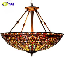 Wholesale Baroque Lamp - 27in European Style Baroque Restaurant Tiffany Country Light Classical Stained Glass Roses Pendant Lamp Hotel Project Lightings Living Room