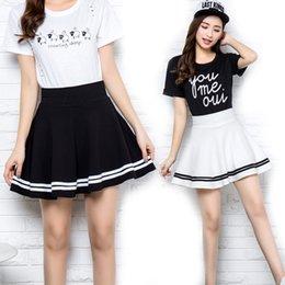 Wholesale Girl School Skirt Xl - New Summer Women's Skirts Sexy Short Skater for Girl ladies Pleated Tutu School Retro Skirt Fashion Faldas Jupe Ball Gown
