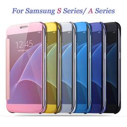 Caso s5 transparente on-line-Para samsung galaxy s7 borda s6 borda mais s5 luxo inteligente flip vista slim espelho galvanoplastia difícil limpar transparente case capa