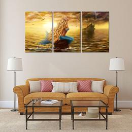3 Panles Beautiful Princess Sea Mermaid Paintings Mermaid Pictures Prints  Seaside Painting Wall Art For Home Decor Wooden Framed