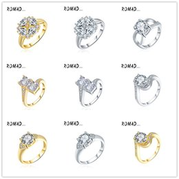 Wholesale Platinum Plated Jewellery - Luxury Square Austrian Crystal Ring 925 Sterling Silver with Platinum Plated Fashion Silver Gold Jewellery Rings Wholesale Size 6 7 8