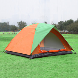 Wholesale Fiberglass Rods - Wholesale- Double Layer 2 Person Outdoor Camping Tent Glass Fiber Rod Fishing Barraca Waterproof Hiking Leisure Beach Awning Tente ZP102