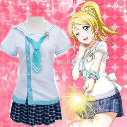 Wholesale Navy Sailor Outfits - Wholesale-Lovelive Love Live Ayase Eli Navy Sailor Suit School Uniform Dress Outfit Anime Cosplay Costumes