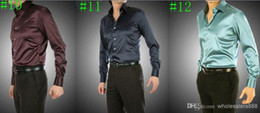 Wholesale Tuxedo White Black Satin - Wholesale-2016 New Custom Made Any Colors Elastic Silk like Satin Men Wedding Shirt Groom Shirts Wear Bridegroom Slik Shirt For Men
