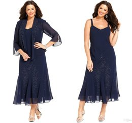 Wholesale Long Sleeve Tea Length Dresses - 2016 Dark Navy Chiffon Tea Length Plus Size Mother of the Bride Dresses with Jacket 3 4 Long Sleeves vestidos Mother Formal Wear ba3573