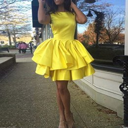 Wholesale Dress Gilrs - Short Yellow Cheap Prom dresses A line Scoop Sleeveless Mini Sexy Women Cocktail Party gowns Homecoming for Gilrs Cheap
