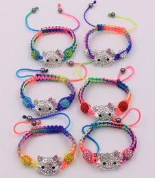 Wholesale Shamballa Kids Bracelet - Wholesale- 10 bracelet lot kid children hello kitty bracelets mixed colours shamballa beads bracelet jewelry