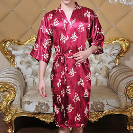 e178a4d6bb Wholesale-Popular Summer Style Faux Silk Mens Robes Chinese Character  Design Male Sleepwear Casual Pajamas Bathrobe Homewear