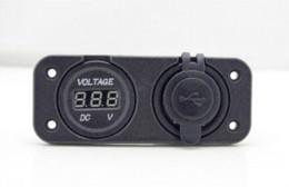 Wholesale Power Meter Socket - Dual USB Car Charger for Motorcycle Car Waterproof Socket Power Adapter Voltmeter Digital Voltage Meter Display For Phone IPod