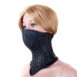 Wholesale Half Face Sex Mask - high quality black PU Leather Half Face Mask Hood Neck Fixed Sex Head Mask Bondage Restraint adult games Sex Toys For Couples