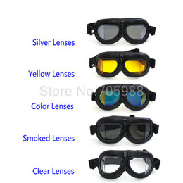 Wholesale Vintage Pilot Helmets - 5 lens WWII RAF VINTAGE PILOT MOTORCYCLE BIKER bicycle CRUISER HELMET BLACK GOGGLES HARTLEY GOGGLES RIDING GOGGLES motorcycle racing goggle