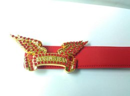 Wholesale Womens Jeans Xl - 2017 Hot new robin jeans belts Genuine Leather red and blue color men womens wing Belts designer belts for gift