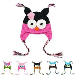 Wholesale Knit Owl Hat For Newborn - Handmade Knitted Kids Caps Baby Cartoon Infant Toddler Crochet Baby Hats Owl Cap With Ear Flap Animal Style For Baby Grils Boys